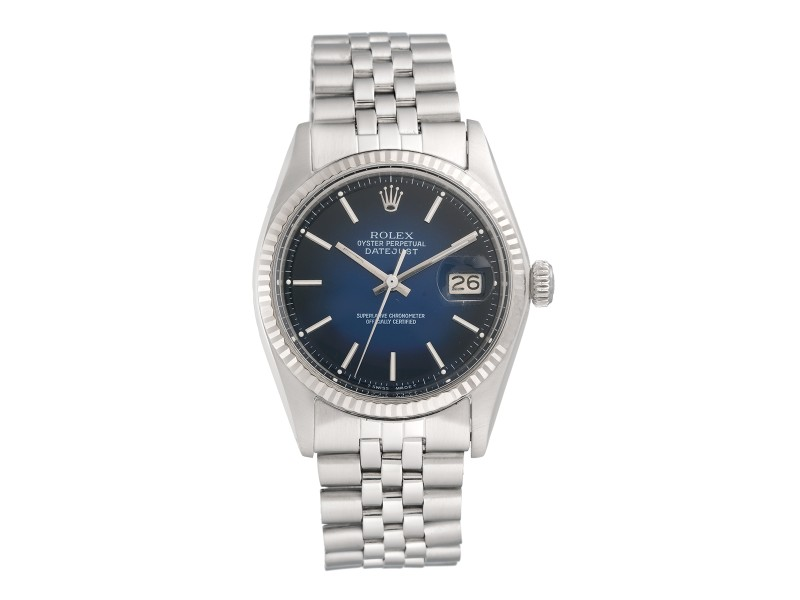 Rolex Datejust 1601 Stainless Steel Blue Dial 36mm Mens Watch