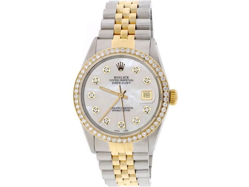 Rolex Datejust 2-Tone 18K Gold/SS 36mm Automatic Jubilee Watch with MOP Diamond Dial & Bezel