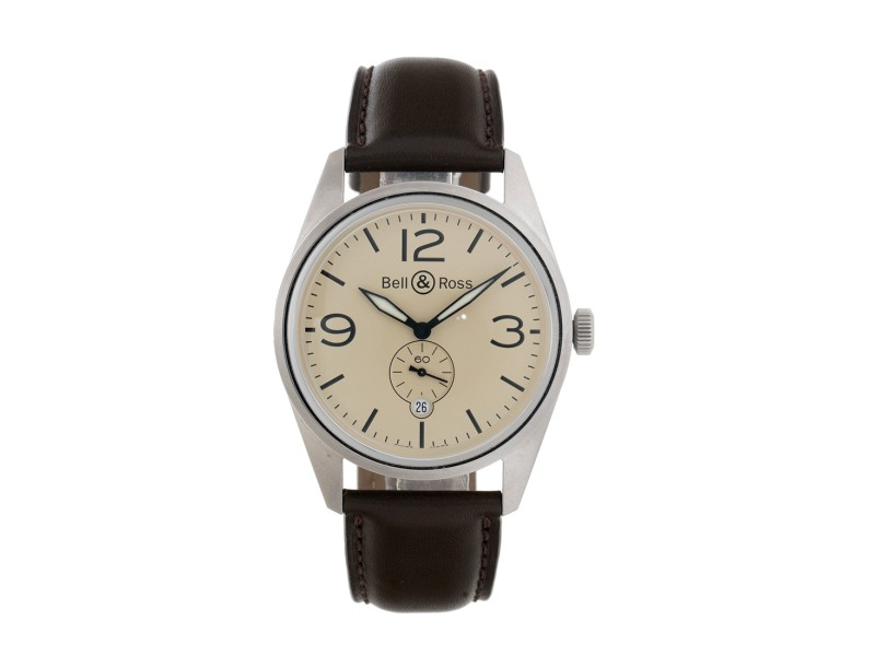 Bell and Ross BRV123 Stainless Steel Automatic Beige Dial Brown Leather 41mm Mens Watch