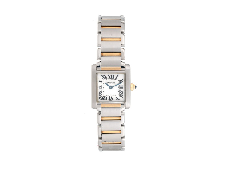 Cartier 18K Yellow Gold Two-Tone Tank Francaise W51007Q4 2300 Womens Watch