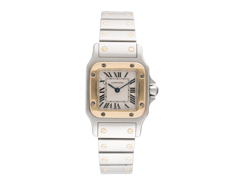 Cartier Santos 1567 Two Tone 18K Yellow Gold and Stainless Steel 26mm Womens Watch