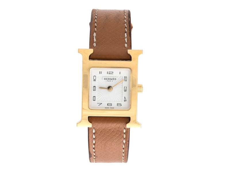 Hermes H Watch HH1.201 Gold Plated Quartz 24.5mm Womens Watch