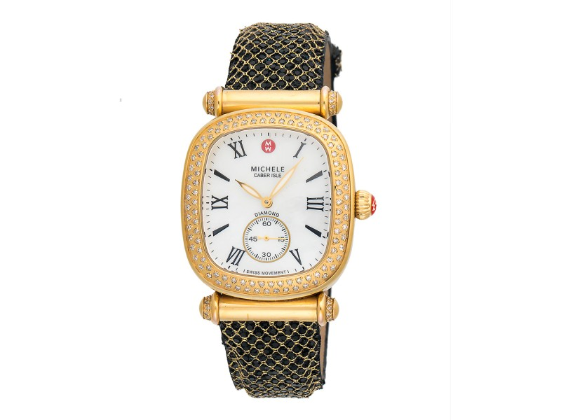Michele Caber Isle MW16C01B1025 Gold Plated & Stainless Steel 32mm Womens Watch