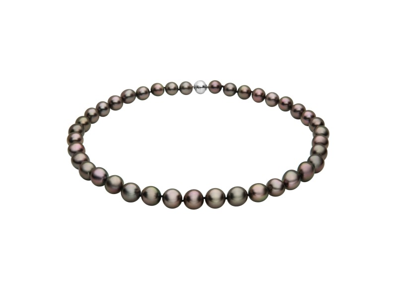 14k White Gold Tahitian Black Cultured Pearl Necklace