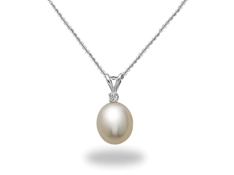 14k White Gold Diamonds Diamonds South Sea Cultured Pearl Necklace