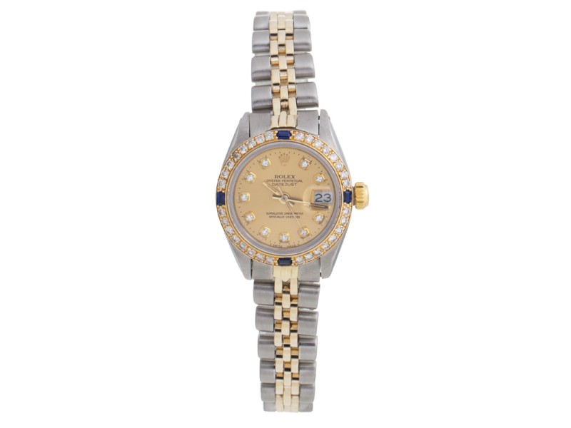 Rolex Datejust 6917 18K Yellow Gold and Stainless Steel Diamond Dial and Bezel 28mm Watch