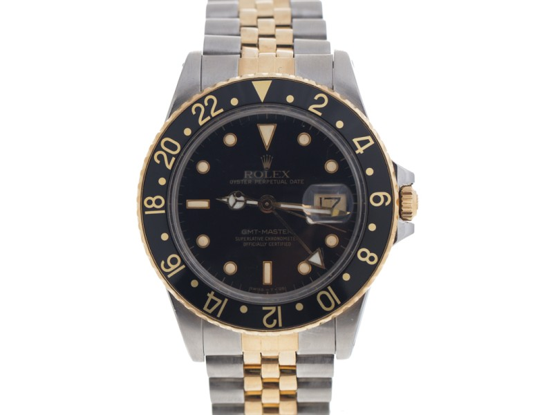 Rolex GMT-Master 16753 Stainless Steel and 18K Yellow Gold Black Dial 40mm Watch