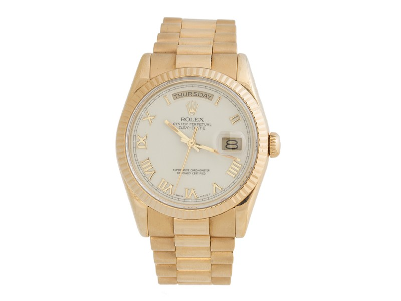 Rolex Day-Date President 118238 White Roman 18K Yellow Gold 36mm Watch