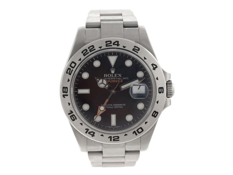 Rolex Explorer II Mens Stainless Steel Black Dial Watch 216570