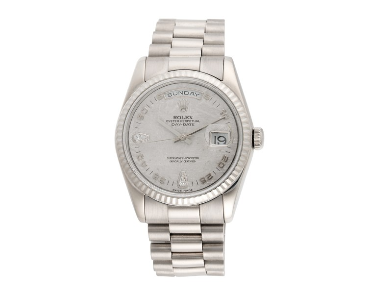 Rolex President Day-Date 118239 18K White Gold Metorite Diamond Dial Automatic 36mm Mens Watch