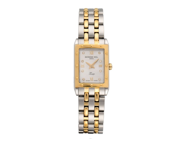 Raymond Weil Tango Rectangular 5971 Two-Tone Mother-Of-Pearl Dial 18mm Womens Watch