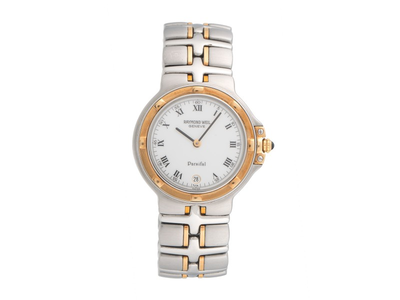 Raymond Weil Parsifal 9190 Two Tone White Roman Dial 38mm Mens Watch