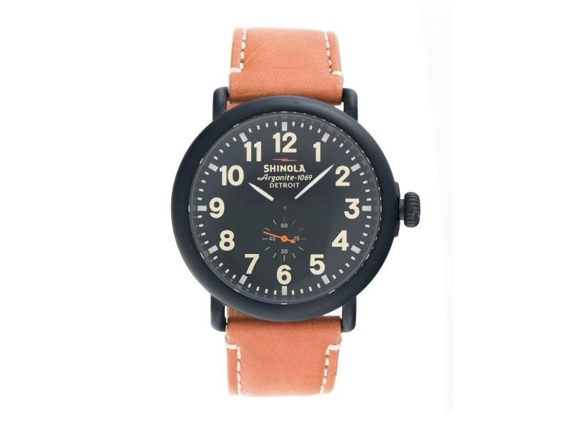 Shinola The Runwell S0100011 Black Dial Tan Leather 47mm Mens Watch