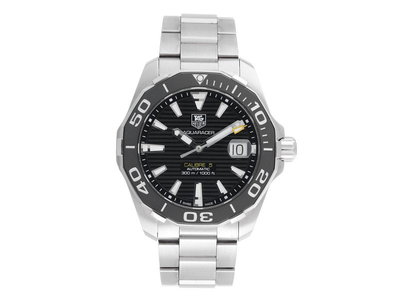 Tag Heuer Aquaracer WAY2110 Stainless Steel Automatic Black Dial 41mm Mens Watch