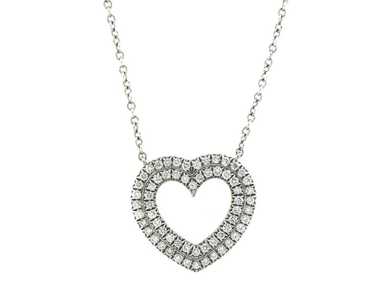 Tiffany & Co. Platinum and Diamond Heart Necklace