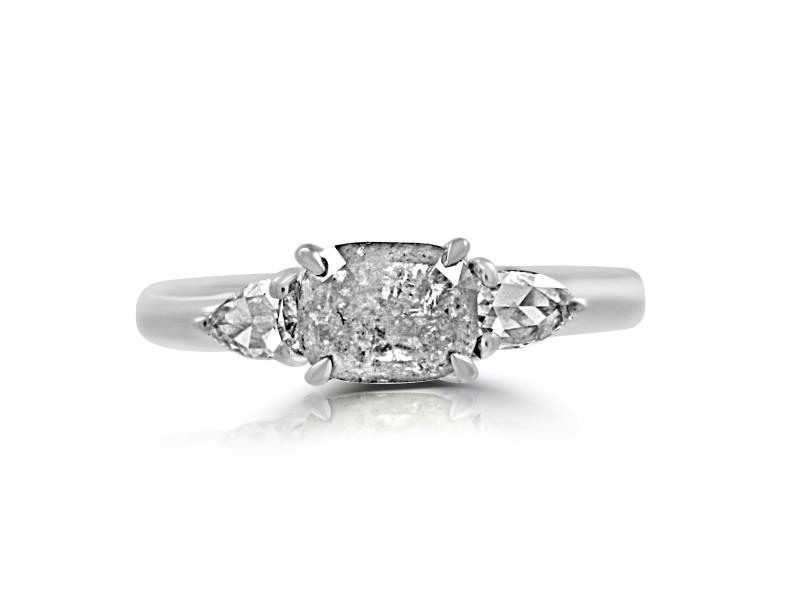 18k White Gold Icy Rosecut Diamond with White Rosecut Diamond Ring