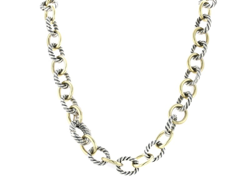 David Yurman Extra-Large Oval Link Necklace with 18K Gold