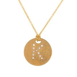 Roberto Coin 18K Yellow Gold 0.4ct Diamond Circle K Necklace