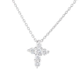 Roberto Coin 18K White Gold 0.20ct Diamond Baby Cross Necklace
