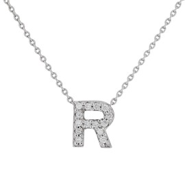 Roberto Coin 18K White Gold 0.06ct Diamond Love Letter R Necklace
