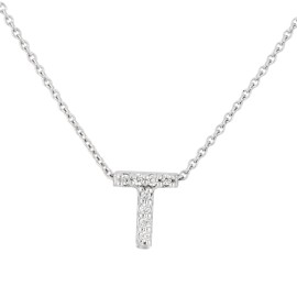 Roberto Coin 18K White Gold 0.04ct Diamond Love Letter T Necklace