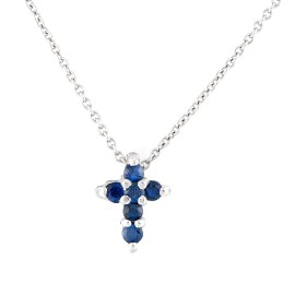 Roberto Coin 18K White Gold 0.15ctw Sapphire Baby Cross Necklace