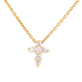 Roberto Coin 18K Yellow Gold 0.11ct Diamond Baby Cross Necklace