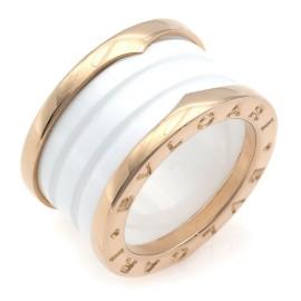 BVLGARI 18K Pink Gold B.zero1 4-band ceramic Ring CHAT-945
