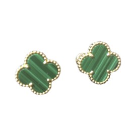 Van Cleef & Arpels 18K Yellow Gold Alhambra Malachite Earrings