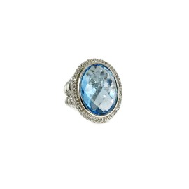David Yurman Sterling Silver .48Tcw 18X13mm Oval Blue Topaz Diamond Ring