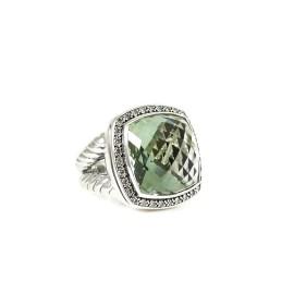 David Yurman Sterling Silver .65Tcw 17mm Moonlight Prasiolite Diamond Ring