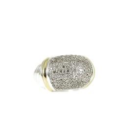 David Yurman Sterling Silver 18K .98Tcw Diamond Metro Dome Ring