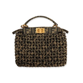 Fendi Brown Jacquard Interlace Iconic Peekaboo Mini Bag