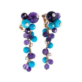 Cartier Delices de Goa 18K Rose Gold Turquoise, Amethyst, and 0.56 ct. Diamond Drop Earrings
