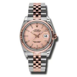 Rolex Datejust Steel and Rose Gold Pink Champagne Stick Dial 36mm Watch