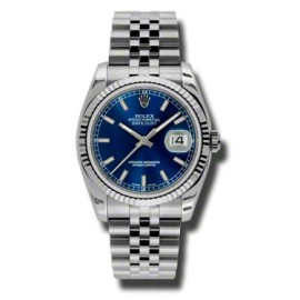 Rolex Datejust Steel and White Gold Blue Stick Dial 36mm Watch