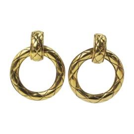 Chanel Vintage Gold Tone Hardware Huggie Hoop Clip On Earrings
