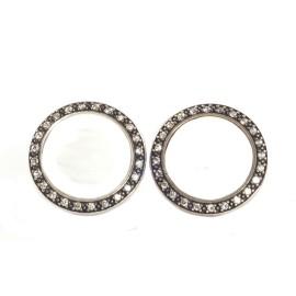 David Yurman 925 Sterling Silver White Quartzite Diamond Button Earrings