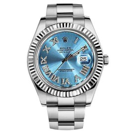 Rolex 116334 Datejust II Ice Blue Diamond Dial Gold Bezel 41mm Automatic Watch