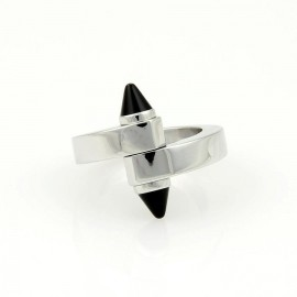 Cartier 18K White Gold with Black Onyx Menotte Bypass Ring Size 4.75