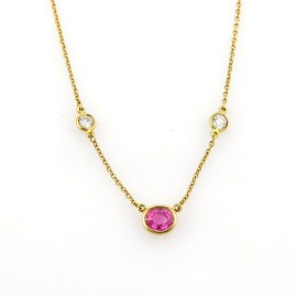 Tiffany & Co. Peretti 18K Yellow Gold with 0.16ct Diamond and 0.65ct Pink Sapphire By The Yard Necklace