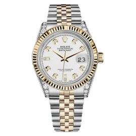 Rolex Datejust 2 Two Tone White Color Dial Diamond Lugs Watch 36mm
