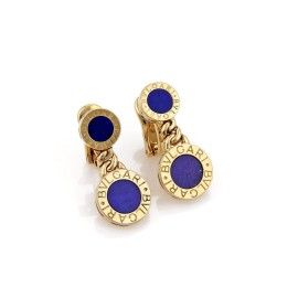 Bulgari 18K Yellow Gold with Lapis Double Circle Post Clip Earrings