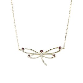 Tiffany & Co. 925 Sterling Silver & 0.10ct. Rhodolite Garnet Dragonfly Pendant Necklace