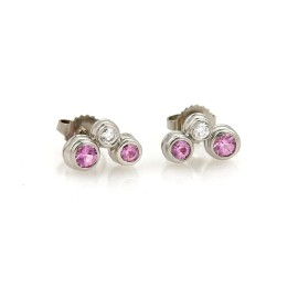 Tiffany & Co. Bubble 950 Platinum 0.50ct Pink Sapphire & Diamond Stud Earrings