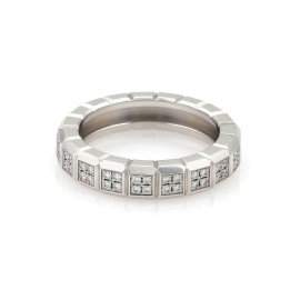 Chopard Cube Design Band Ring 18K White Gold with 0.40ct Diamond Size 5.75