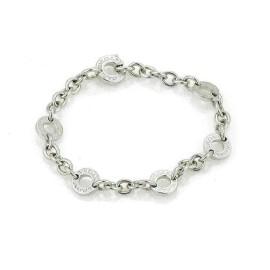 Bvlgari 18k White Gold 6 Engraved Circle Link Chain Bracelet