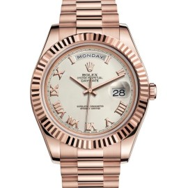 Rolex Day Date II 218235IVRP 18K Rose Gold Ivory Dial 41mm Watch
