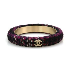 Chanel Purple & Black Tweed Logo Fabric Metal Bangle