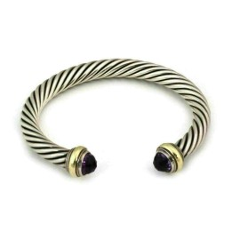 David Yurman Amethyst Sterling & 14k Gold 7mm Cable Cuff Bracelet